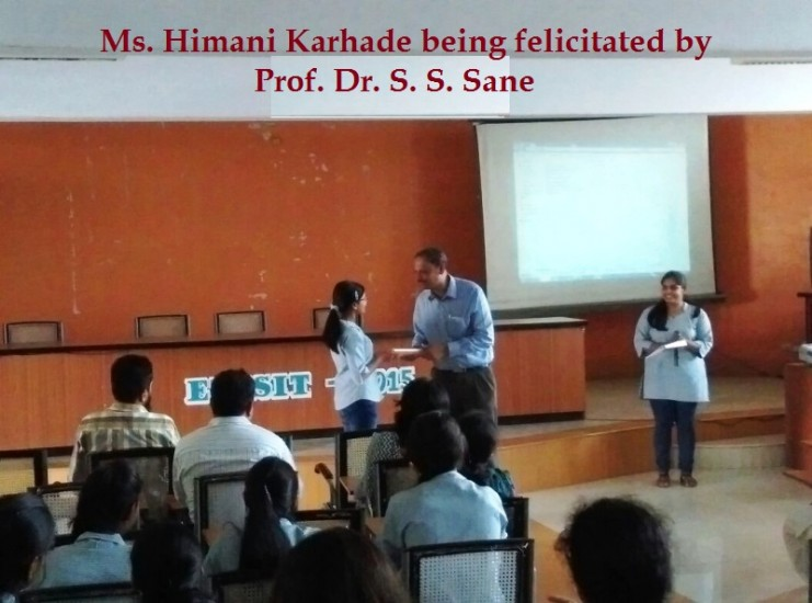 Ms. Himani Karhade being felicitated by Prof. Dr. S. S. Sane