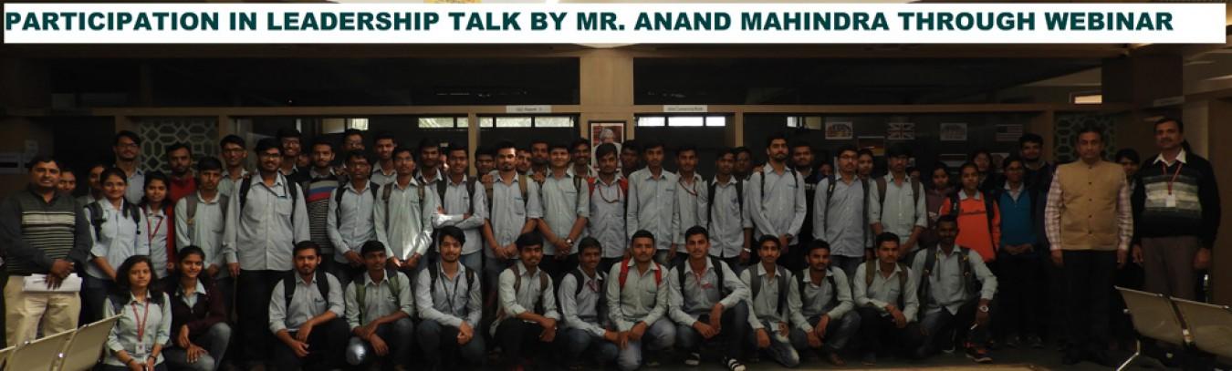 Partcipation in Leadership Talk by Mr Ananad Mahindra through Webinar