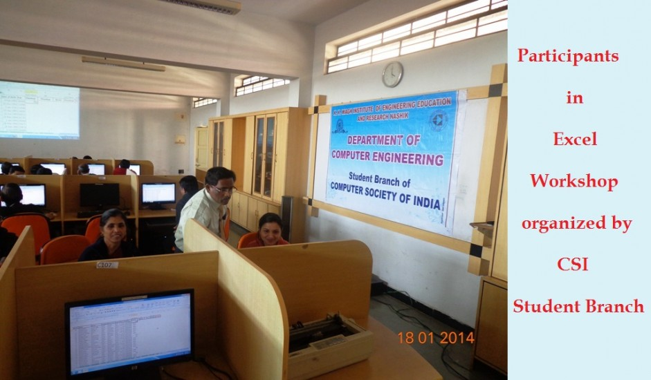 Participants in Excel Workshop  organized by CSI , Student Branch