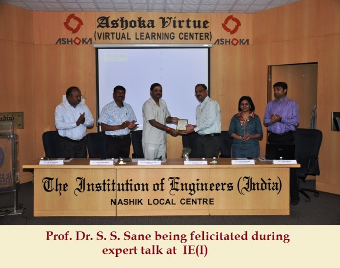 Prof. Dr. S. S. Sane being felicitated during expert talk at  IE(I)