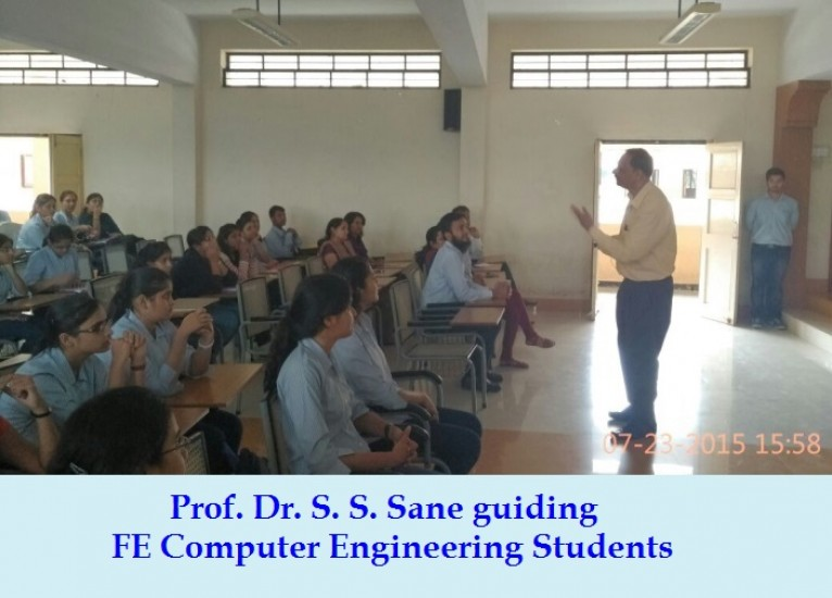 Prof. Dr. S. S. Sane guiding FE Computer Engineering Students