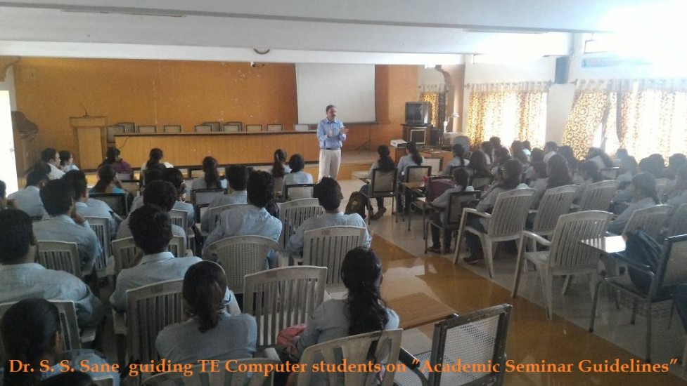 "Prof. Dr. S. S. Sane  guiding TE Computer students on ""Academic Seminar Guidelines"""