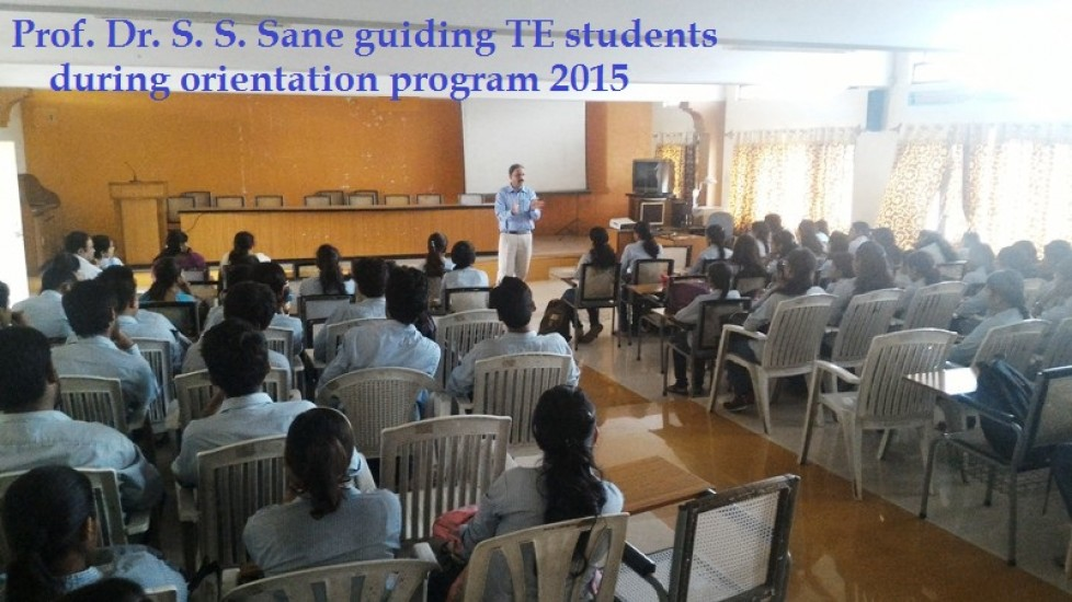Prof. Dr. S. S. Sane guiding TE students during orientation program 2015