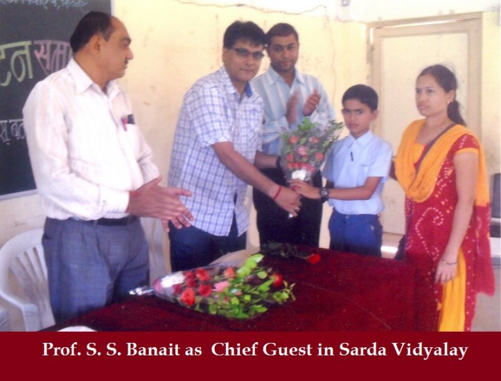 Prof. S. S. Banait as  Chief Guest in Sarda Vidyalay