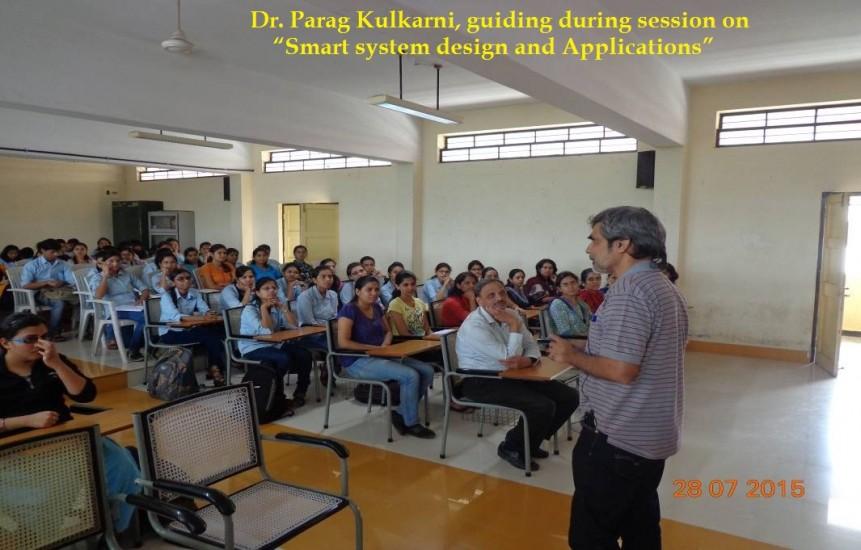 "Speaker Dr. Parag Kulkarni, guiding during session on ""Smart system design and Applications"""
