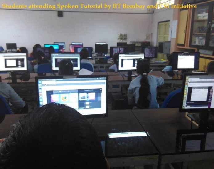 Students attending Spoken Tutorial by IIT Bombay and CSI Initiative